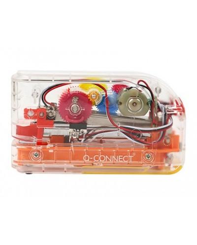 Grapadora electrica q connect plastico transparente mecanismo de colores capacidad 20 hojas usa grapas