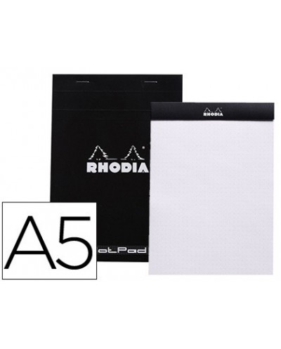 Bloc nota rhodia black dot pad din a5 80 hojas 80 g m2 liso con puntos negros 5 mm perforado