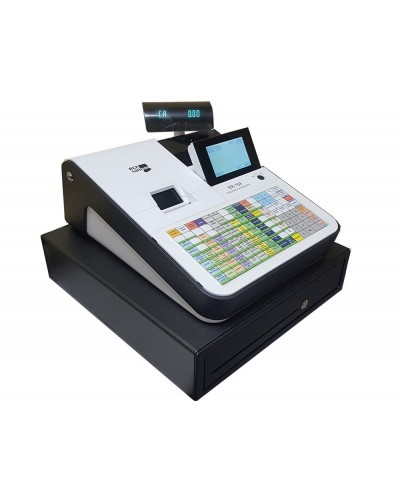 Registradora ecr sampos er 159 f blanca 46 departamentos display lcd cajon grande conforme factura