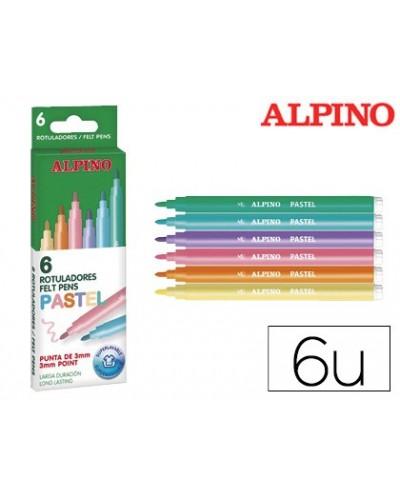 Rotulador alpino standard pastel caja de 6 colores surtidos