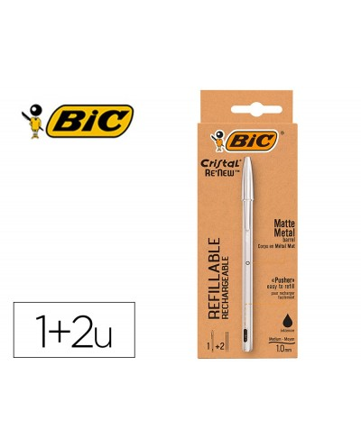 Boligrafo bic cristal renew tinta negra pack de 1 unidad 2 recambios