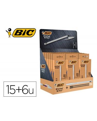 Boligrafo bic cristal renew 21 expositor 15 unidades azul 6 negro regalo 50 bic cristal azul