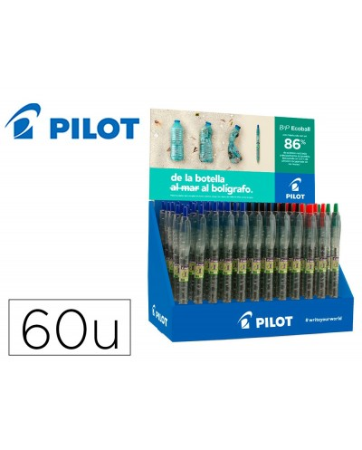 Boligrafo pilot ecoball plastico reciclado expositor de 60 unidades colores surtidos 10 boligrafos