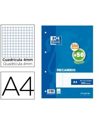 Recambio oxford din a4 200 50 hojas gratis cuadro 4 mm con margen