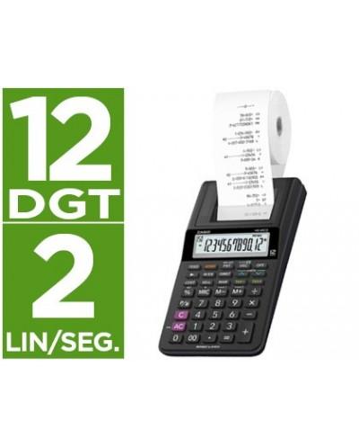 Calculadora casio impresora pantalla lc papel 58mm hr 8rce12 digitos ac dc pilas color negro