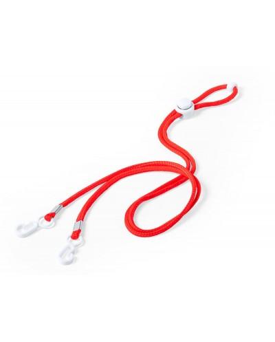 Cordon portamascarilla facial con ajustador craneal longitud 48 cm color rojo