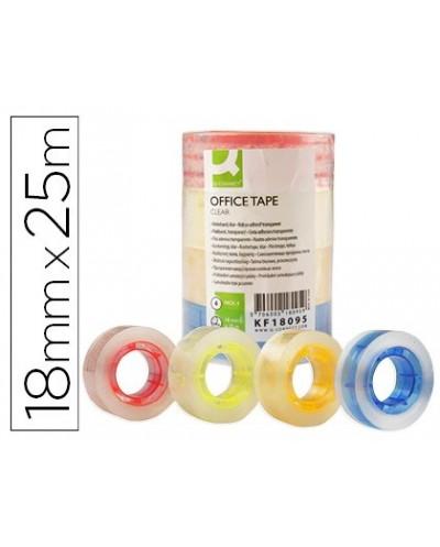 Cinta adhesiva q connect con mandril de color 25 mt x 18 mm pack de 4 colores