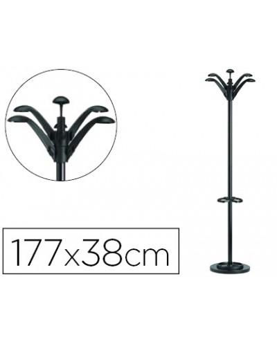 Perchero metalico unilux flora pie 6 colgadores con paraguero y bandeja goteo negro 177 x 38 cm