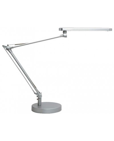 Lampara de escritorio unilux mambo led 56w doble brazo articulado abs y aluminio gris metalizado base 19 cm
