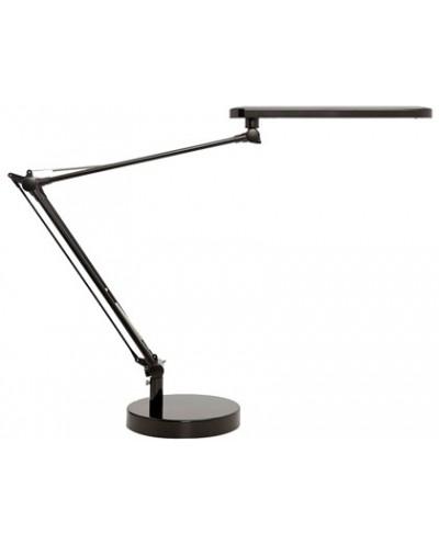 Lampara de escritorio unilux mambo led 56w doble brazo articulado abs y aluminio negro base 19 cm diametro