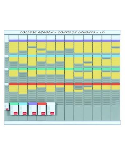 Kit planificacion de tarjetas t nobo 66x80 cm 12 columnas 2x32 ranuras 500 tarjetas t nº2 colores surtidos 100