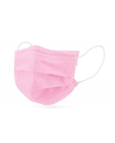 Mascarilla facial proteccion infantil 3 capas desechable quirurgica tonos rosas