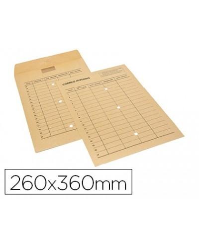 Sobre sam bolsa kraft natural 120 gr cierre multiadhesivo 260x360 mm correo interno 3 taladros impreso 2 caras caja