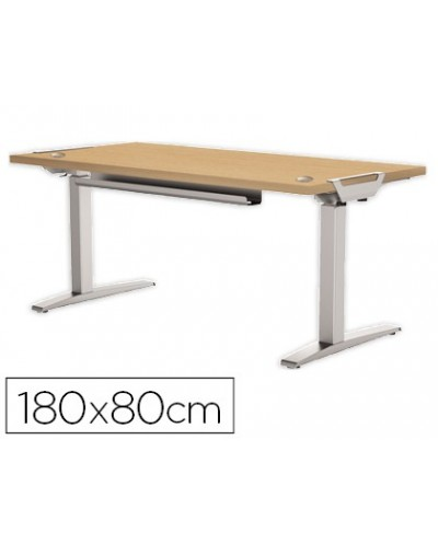 Mesa de oficina levado base metal acero pintado sistema electrico regulable altura tablero arce 180 x 80 cm