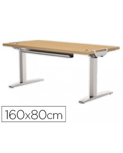 Mesa de oficina levado base metal acero pintado sistema electrico regulable altura tablero arce 160 x 80 cm
