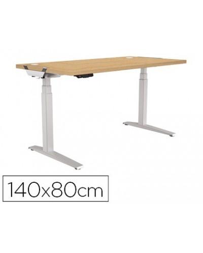 Mesa de oficina levado base metal acero pintado sistema electrico regulable altura tablero arce 140 x 80 cm