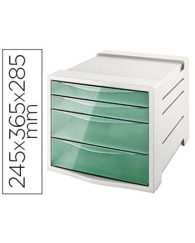 Fichero cajones de sobremesa esselte colour ice plastico 4 cajones color verde 245x365x285 mm