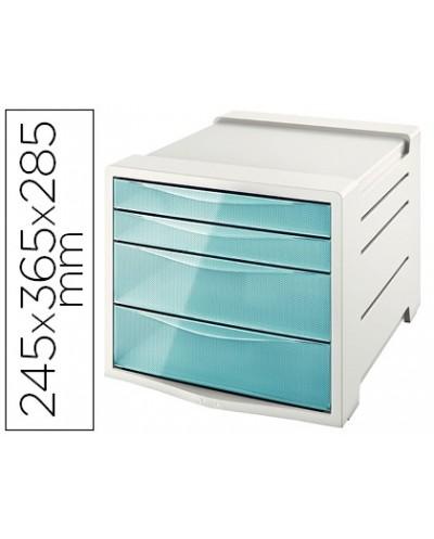 Fichero cajones de sobremesa esselte colour ice plastico 4 cajones color azul 245x365x285 mm