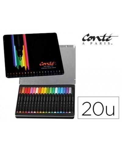 Rotulador bic conte color collection caja metalica de 20 unidades colores surtidos