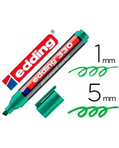 Rotulador edding marcador permanente 330 verde punta biselada 1 5 mm recargable