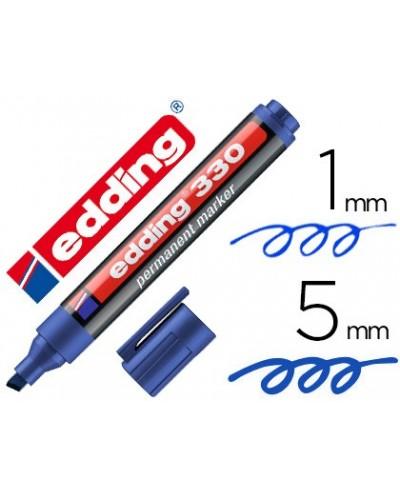 Rotulador edding marcador permanente 330 azul punta biselada 1 5 mm recargable