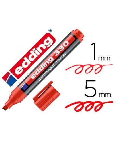 Rotulador edding marcador permanente 330 rojo punta biselada 1 5 mm recargable
