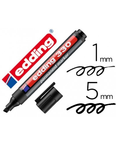 Rotulador edding marcador permanente 330 negro punta biselada 1 5 mm recargable