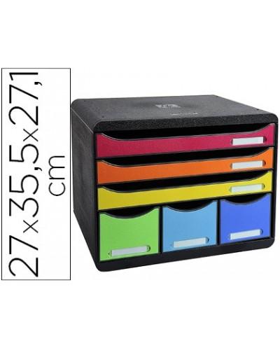 Fichero cajones sobremesa exacompta iderama arlequin 6 cajones multicolores 270x355x271 mm