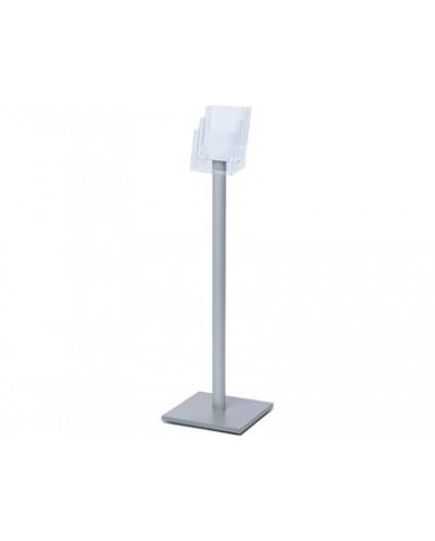 Expositor jansen display de suelo poste aluminio base madera 3 bandejas para formato din a5 1060x330 mm