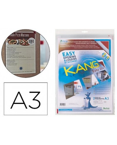 Funda de presentacion tarifold adhesiva removible din a3 con esquina magnetica capacidad para 10 hojas pack