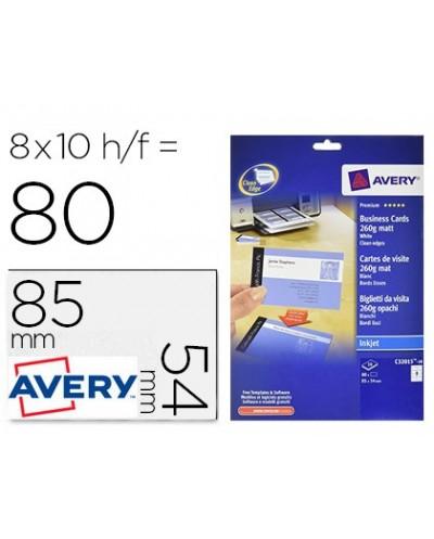 Tarjeta de visita avery blanca mate 85x54 mm imprimible doble cara para ink jet 260 gr pack de 80