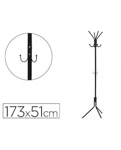 Perchero metalico q connect negro 8 colgadores 173x51 cm