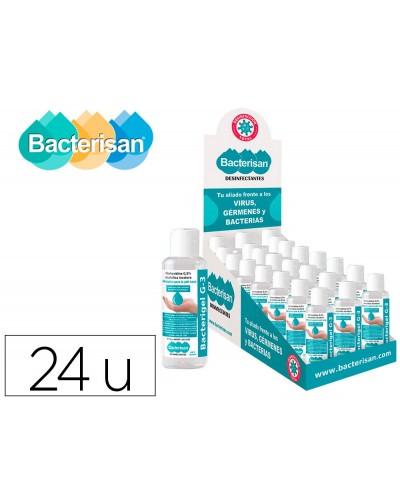 Gel hidroalcoholico antiseptico bacterigel g3 para manos limpia y desinfectasin aclarado bote expositor 24