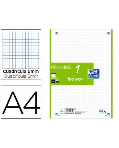 Recambio color oxford din a4 100 hojas 90 gr cuadro 5 mm 4 taladros verde