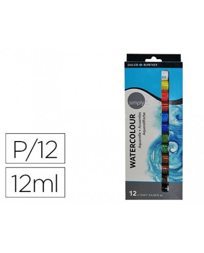 Pintura acuarela daler rowney simply caja de 12 colores surtidos tubo de 12 ml