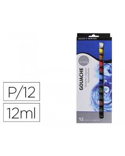 Pintura gouache daler rowney simply caja de 12 colores surtidos tubo de 12 ml