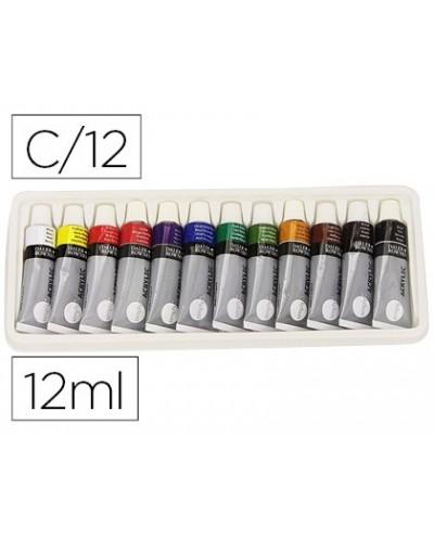 Pintura acrilica daler rowney simply caja de 12 colores surtidos tubo de 12 ml