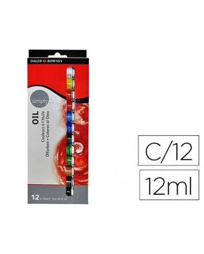 Pintura oleo daler rowney simply caja de 12 colores surtidos tubo de 12 ml