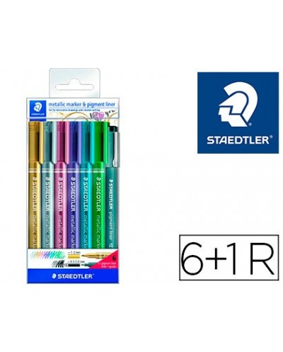 Rotulador staedtler metalico 8323 blister de 6 unidades colores surtidos 1 rotulador calibrado 308 c2 9