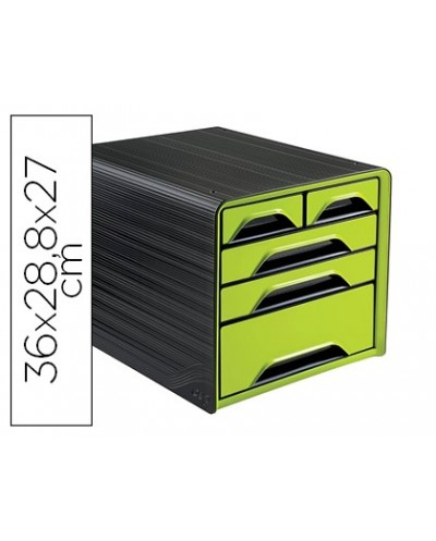 Fichero cajones de sobremesa cep 5 cajones mixtos verde negro 360x288x270 mm