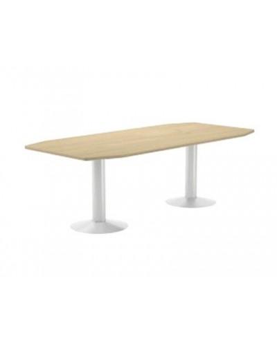 Mesa de reunion rocada meeting 3003atw02 estructura columna doble acero blanco tablero madera gris