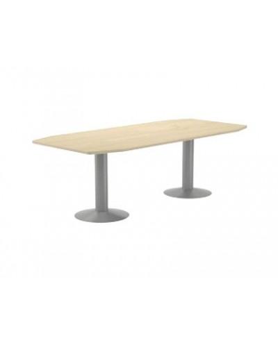 Mesa de reunion rocada meeting 3003at04 estructura columna doble acero gris tablero madera blanco