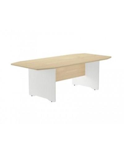 Mesa de reunion rocada meeting 3003aw02 estructura madera blanco tablero madera gris 220x100x72 cm