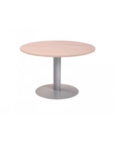 Mesa de reunion rocada meeting 3005at04 estructura columna acero gris tablero madera blanco 100 cm diametro