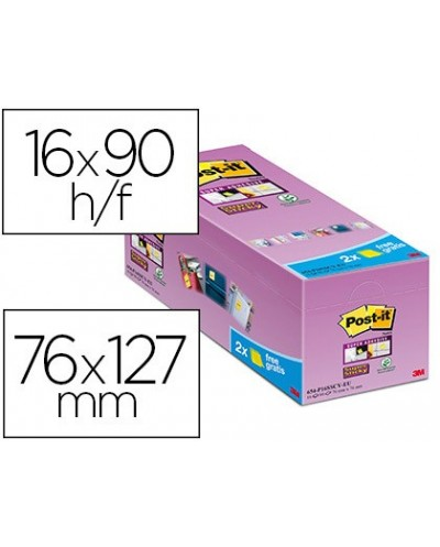 Bloc de notas adhesivas quita y pon post it super sticky amarillo canario 76x127 mm pack de 16 unidades