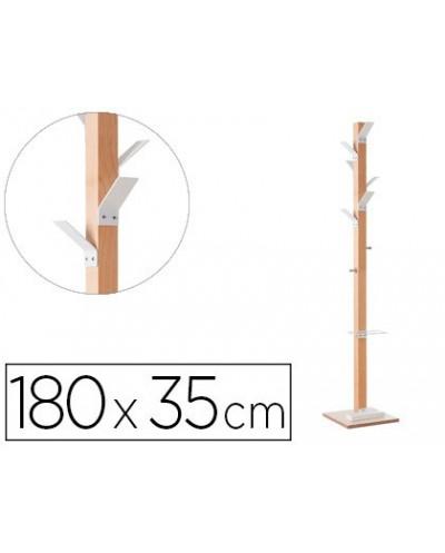 Perchero madera paperflow haya 8 colgadores con paraguero blanco altura 180 cm