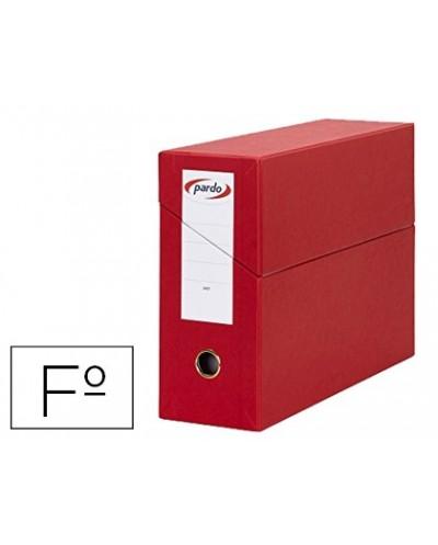 Caja transferencia pardo folio forrado extra doble lomo 80 mm estuche interior con tarjetero roja