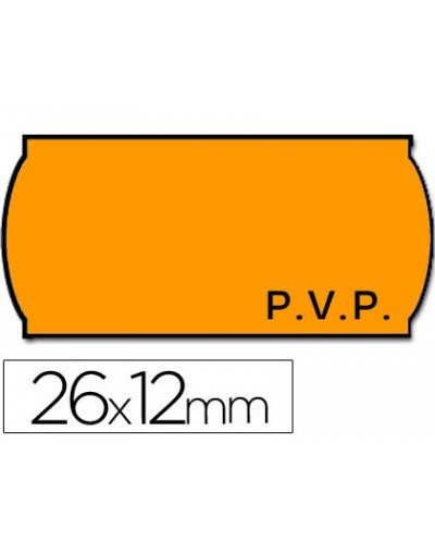 Etiquetas meto onduladas 26 x 12 mm pvp fn adh 2 fluor naranja rollo 1500 etiquetas
