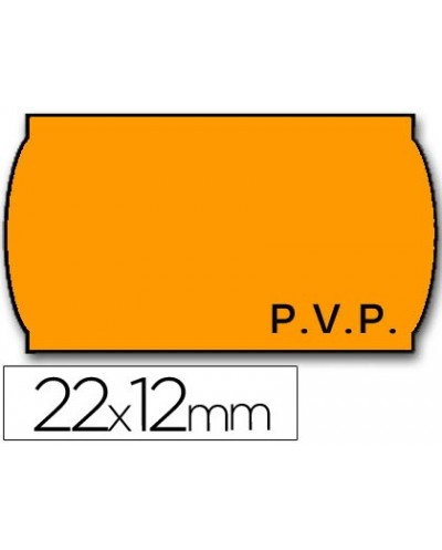 Etiquetas meto onduladas 22 x 12 mm pvp removible fn fluor naranja rollo 1500 etiquetas