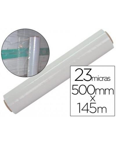 Film extensible manual bobina ancho 500 mm largo 145 mt espesor 23 micras transparente